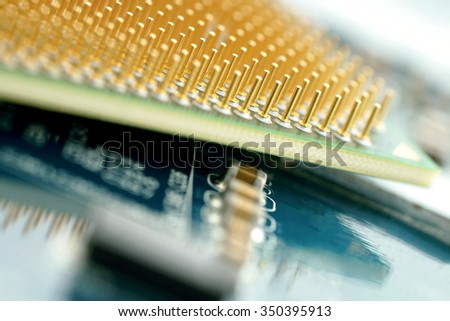 Close-up of a computer processor. - stock photo