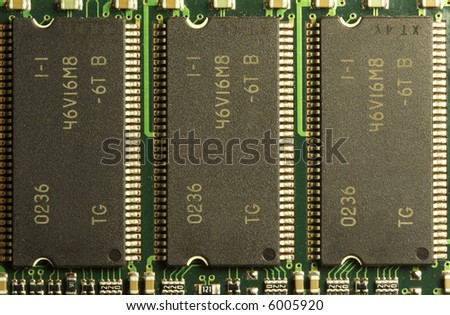 close up of a computer RAM memory chips in a row. - stock photo