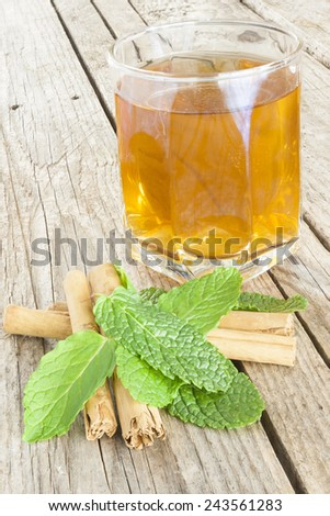 Close-up of a cup of tea with cinnamon and peppermint - stock photo