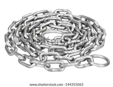 Close-up of a curled up metal chain - stock photo