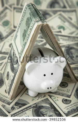 Close up of a cute Piggy Bank under shelter of cash. Shallow depth of field. - stock photo