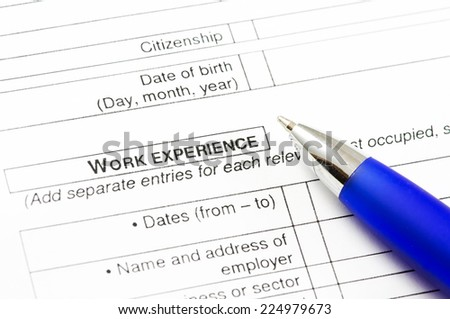 Close up of a CV document with empty spaces. - stock photo