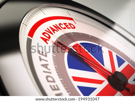 Close up of a dial with blur effect and the needle pointing the word advanced. Conceptual Illustration of English courses level. - stock photo