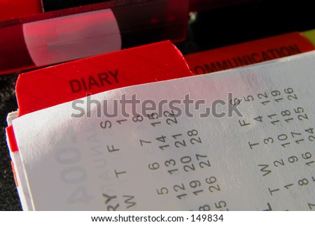 Close up of a diary page - stock photo