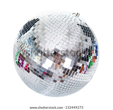 Close-up Of A Disco Ball Isolated On White Background - stock photo