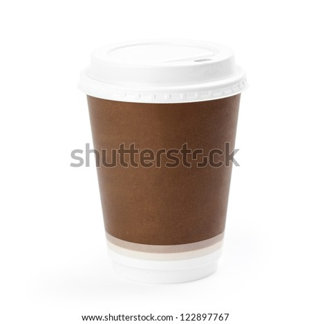 Close-up of a disposable coffee cup isolated on white background. Clipping path included - stock photo