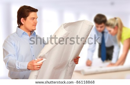 Close-up of a diverse group of engineers - stock photo