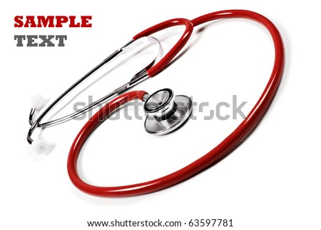 Close up of a doctor's stethoscope in red on a white background with space for text - stock photo