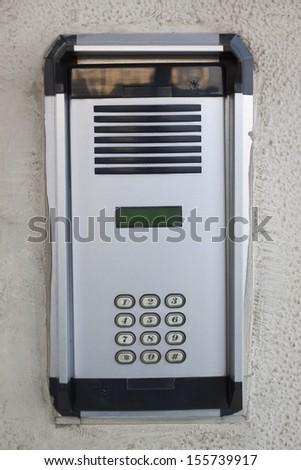 Close-up of a door phone - stock photo