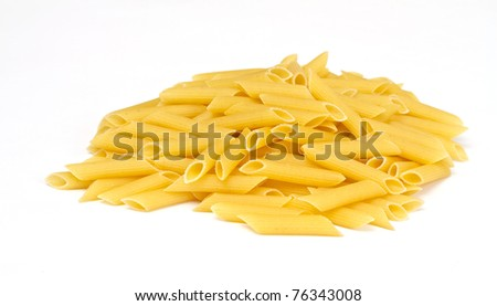 close up of a dried italian pasta on white background - stock photo