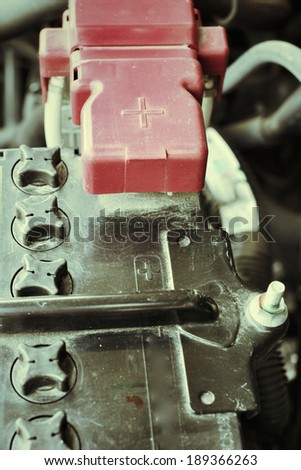 Close up of a engine compartment - stock photo