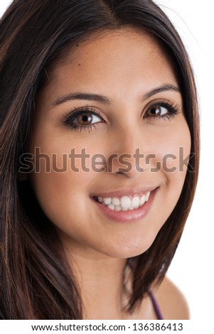 Close up of a face of a beautiful mixed race Japanese Mexican woman isolated on a white background - stock photo