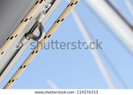 Close-up of a fasten rope. details - stock photo
