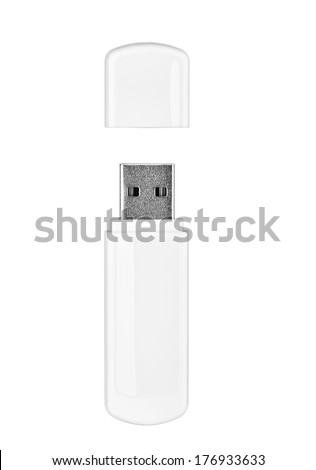 close up of  a flash memory template on white background - stock photo