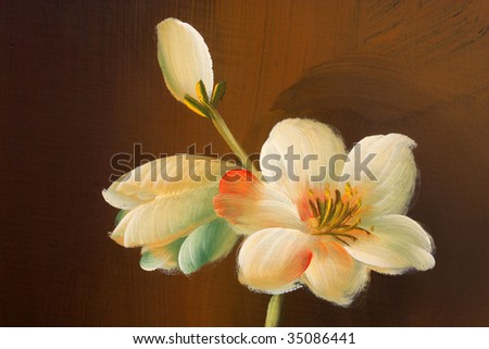 Close up of a flower painted on wooden texture - stock photo