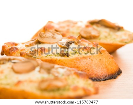 Close-up Of A Garlic Bread, Indoor - stock photo