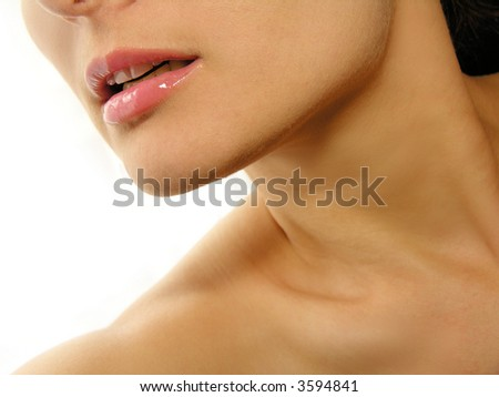 Close up of a girl's juicy lips. - stock photo