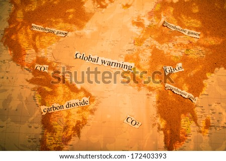 Close-up of a globe showing the globalwarming - stock photo