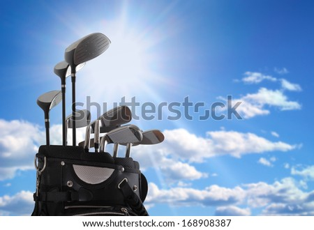 close-up of a golf bag - stock photo