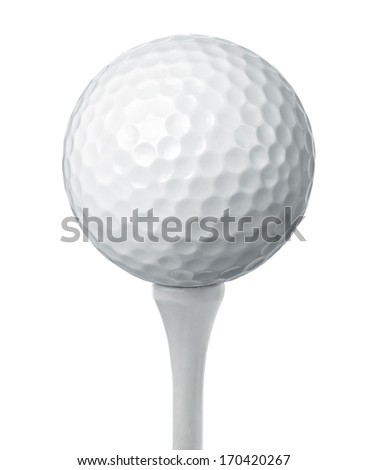 Close up of a golf ball on a tee isolated on white background - stock photo