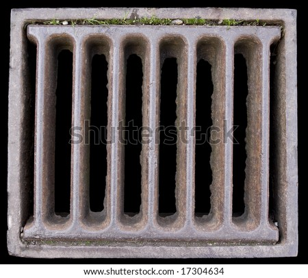 Close-up of a Grate covering a Sewer/Stormwater sump. Isolated on black - stock photo