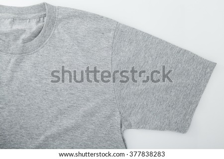 close up of a  gray t shirt template on white background - stock photo