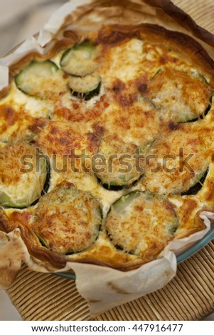 Close up of a grilled zucchini pie in a kitchen - stock photo