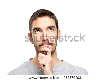 Close up of a guy wondering - stock photo