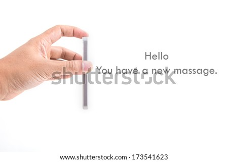 Close up of a hand using mobile smart phone - stock photo