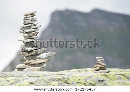 close-up of a handmade stonebridge against sky - stock photo