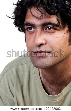 close up of a handsome indian man isolated on white - stock photo