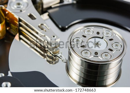 close up of a hard disk inside - stock photo