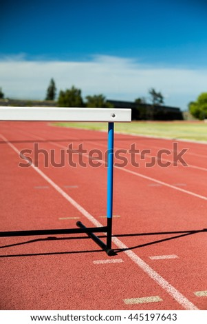 Close-up of a hurdle on running track - stock photo