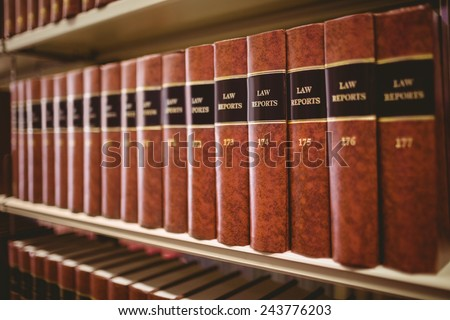 Close up of a lot of law reports in library - stock photo