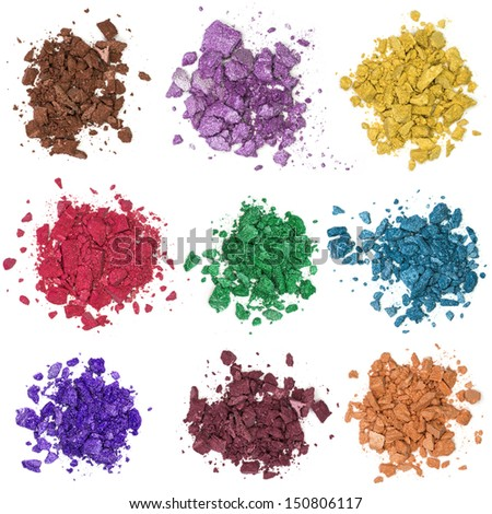 Close up of a make up powder and crushed eyeshadow - stock photo
