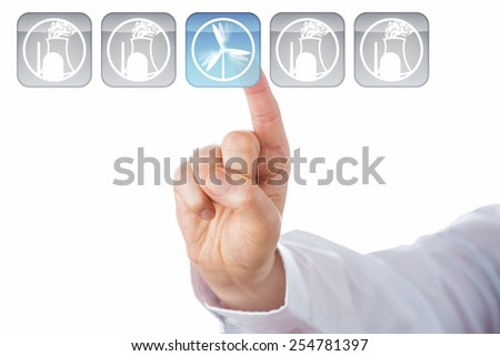 Close up of a male index finger choosing a blue wind power icon over nuclear energy icons in a row of five push buttons. Cut out isolated over white background. Rasterized vector illustration artwork. - stock photo