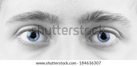 Close Up Of A Man Eyes, macro - stock photo