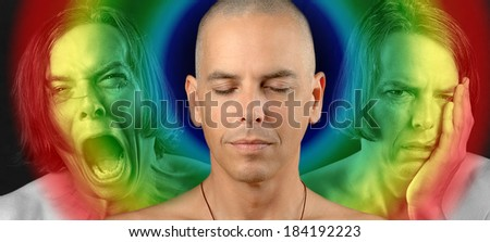 Close-up of a man in three conflicting emotional states: calm / meditative, pain, and depression. Rainbow circle overlaying the meditative state. - stock photo