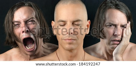 Close-up of a man in three conflicting emotional states: calm / meditative, pain, and depression. - stock photo