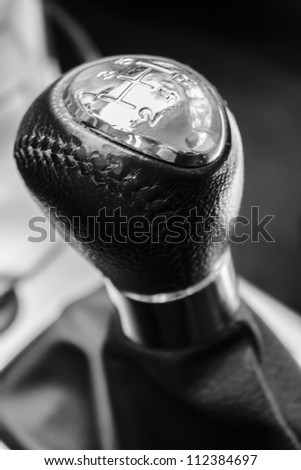 close-up of a manual car gear shift. 5 speed manual. - stock photo