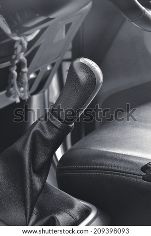 Close up of a manual transmission gear lever knob - stock photo