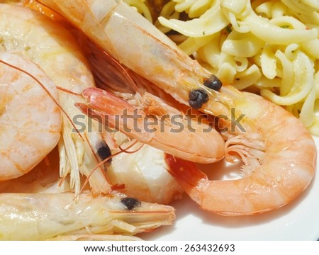 Close up of a meal consisting of fresh shrimp and rotini pasta.  The shrimp is pink with dark black eyes and the pasta is covered with an herb mixture. - stock photo
