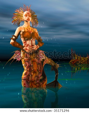 Close up of a Mermaid dressed in armor seashells rising out of the ocean at night. Illustration - stock photo