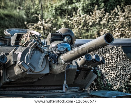 Close-up of a military armored vehicle - stock photo