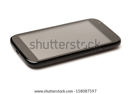 Close-up of a mobile phone on white background - stock photo