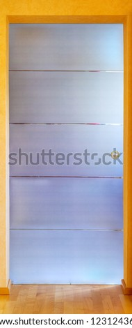 Close up of a modern glass door, stitched and Hdr - stock photo