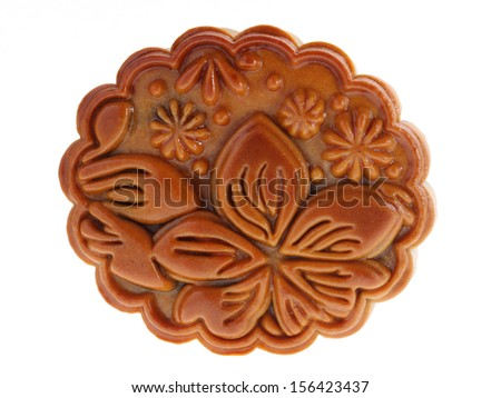 Close up of a mooncake isolated on white background. - stock photo