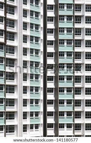 Close up of a new public apartment building - stock photo