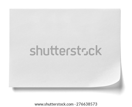 close up of  a note paper with a red push pin on white background - stock photo