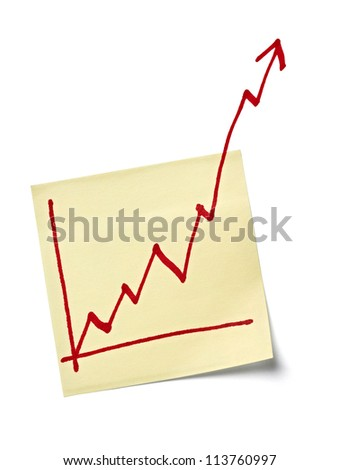 close up of a note paper with finance business graph going up - stock photo